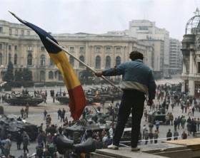 Man Waving a Romanian Flag