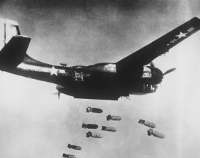Fifth Air Force, Korea--A dramatic stop-action photograph shows nine high explosive missiles leaving the bomb bay of a U.S. Air Force 3rd Bomb wing B-26 light bomber over a Communist target in North Korea.  The light bombers fly day and night combat missions, attacking key Red military targets including rail and road bridges, communication centers, supply-laden vehicles and troop and supply areas along the battleline. AIR AND SPACE MUSEUM#:  84203 AC
